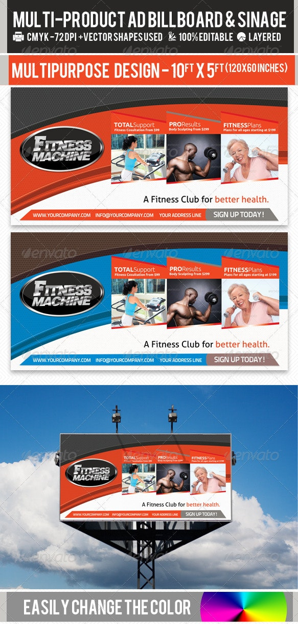 Multi-Product-Ad-Sinage-Billboard PSD Template
