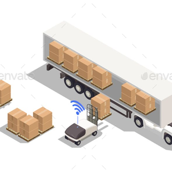 Truck Isometric Composition