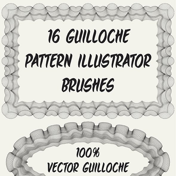 16 Guilloche Pattern Adobe Illustrator Brushes