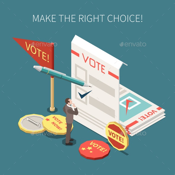 Election Voting Isometric Poster - Miscellaneous Vectors