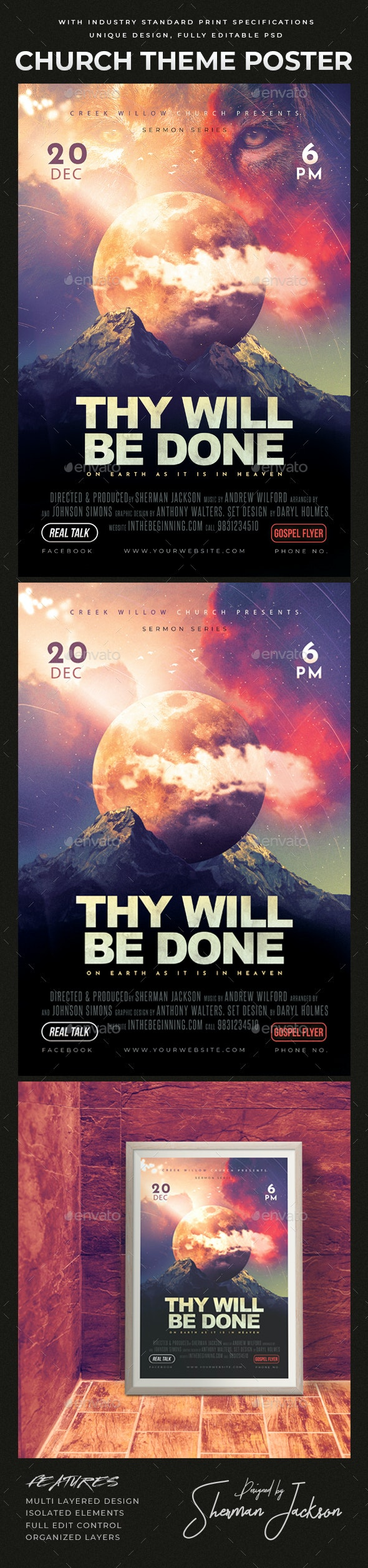 Church Themed Event Poster - Thy Will - Church Flyers
