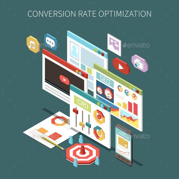 Conversion Rate Optimization Isometric Concept - Concepts Business