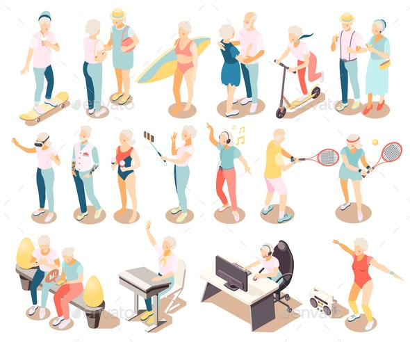 Modern Elderly People Isometric Icons - Sports/Activity Conceptual