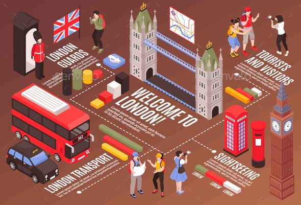 Welcome to London Infographics Background - Travel Conceptual
