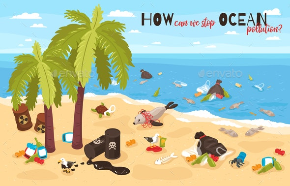 Stop Ocean Pollution Isometric Illustration - Animals Characters