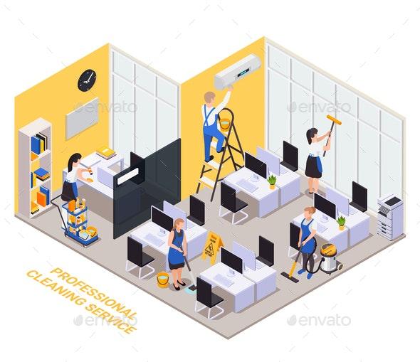 Isometric Cleaning Office Composition - Services Commercial / Shopping