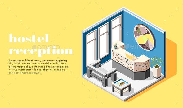 Hostel Reception Isometric Background - Miscellaneous Vectors