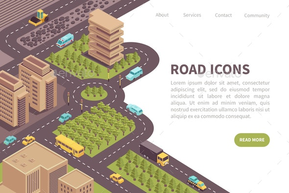 Road Icons Landing Page - Miscellaneous Vectors