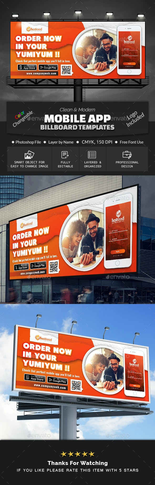 Mobile App Billboard Template - Signage Print Templates