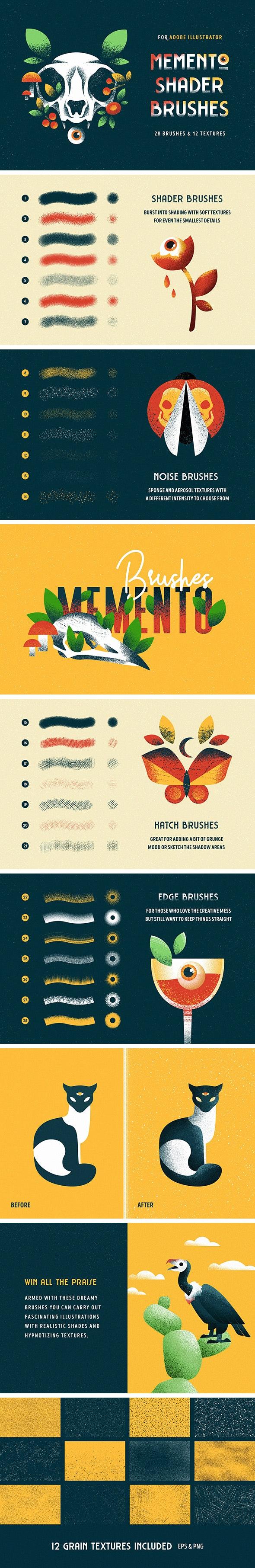 Shader Brushes for Illustrator - Grunge Brushes