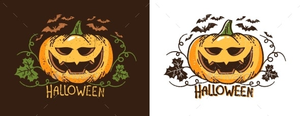 Halloween Pumpkin with Leaves and Bats - Halloween Seasons/Holidays