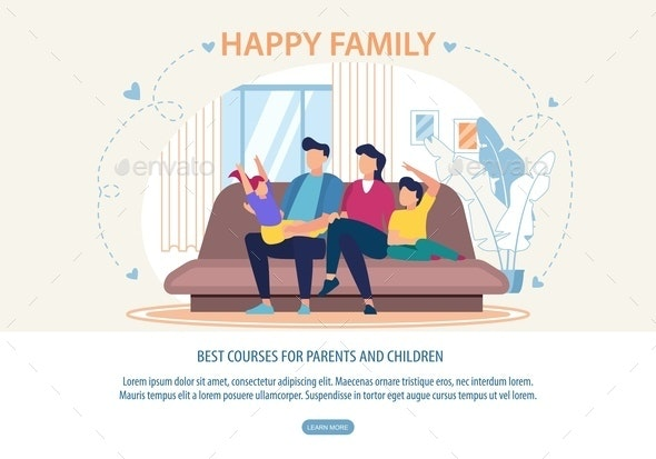 Banner Best Courses for Parents and Children - People Characters