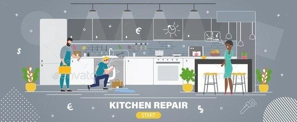 Kitchen Repair Plumbing Service Vector Website - Industries Business