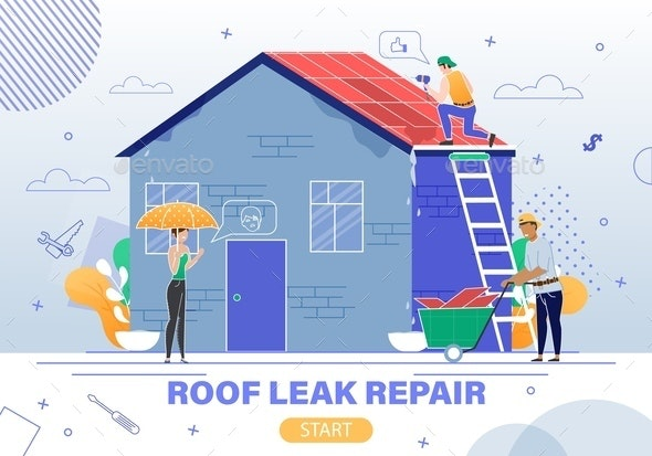 Roof Leaking Repair Service Flat Vector Website - Buildings Objects