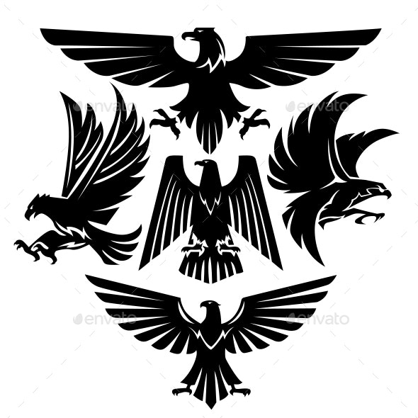 Eagle Set Silhouette Hawk Vector - Animals Characters