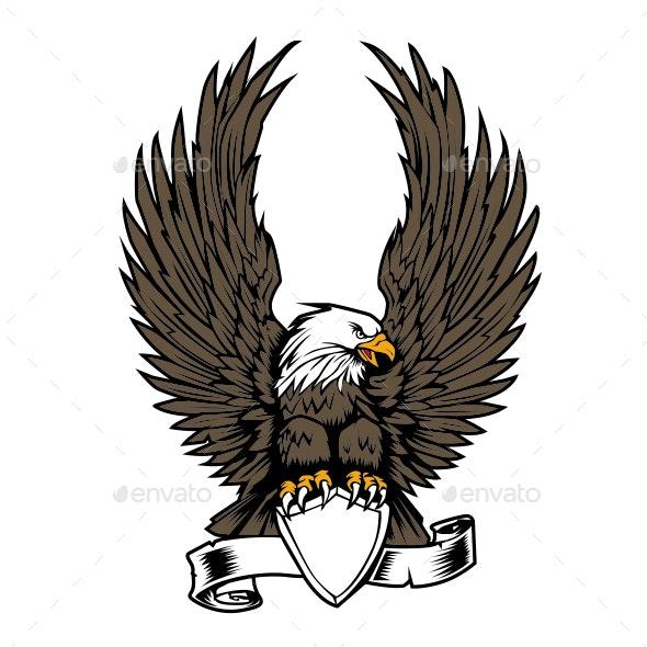 Eagle Wing Ribbon Hawk Vector - Animals Characters