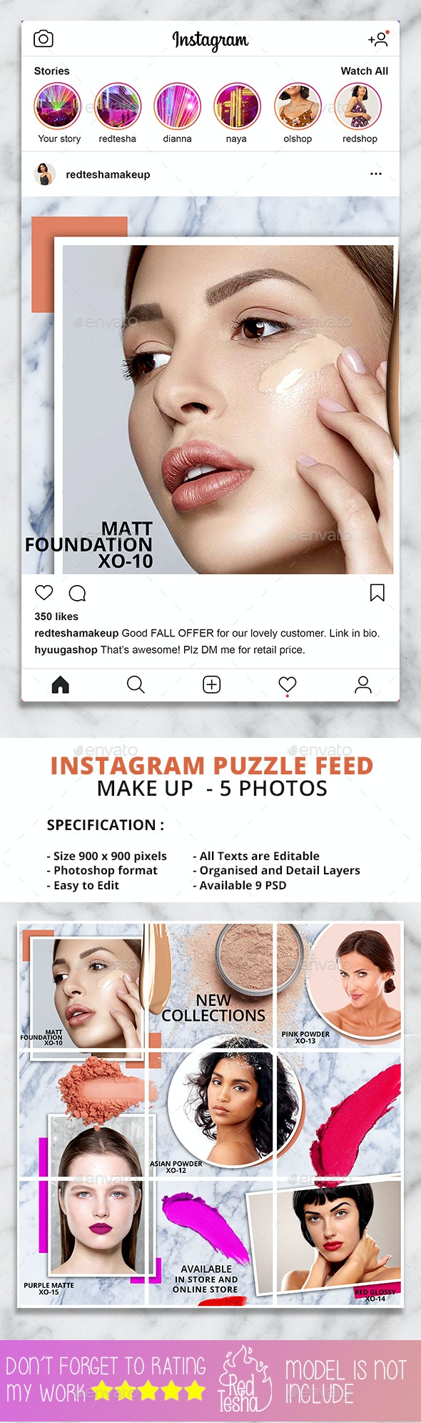 Instagram Puzzle Feed / Grid Template - Social Media Web Elements