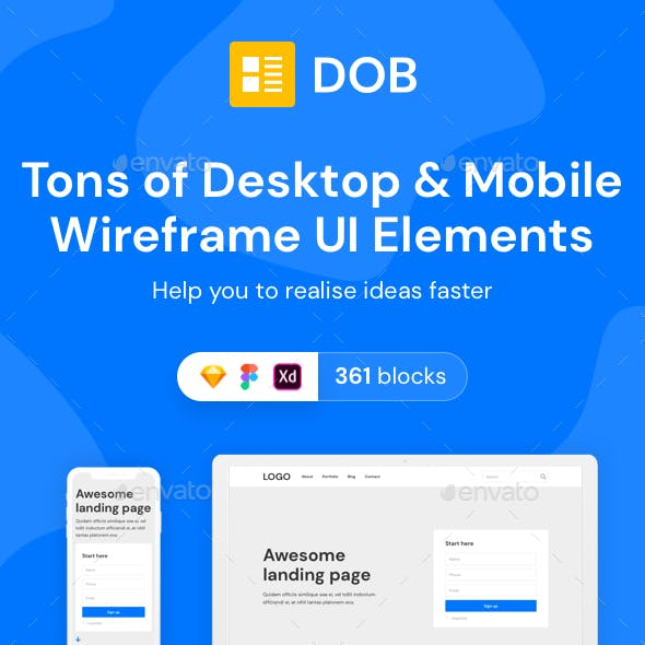 DOB – Desktop & Mobile Wireframe Web UI Kit