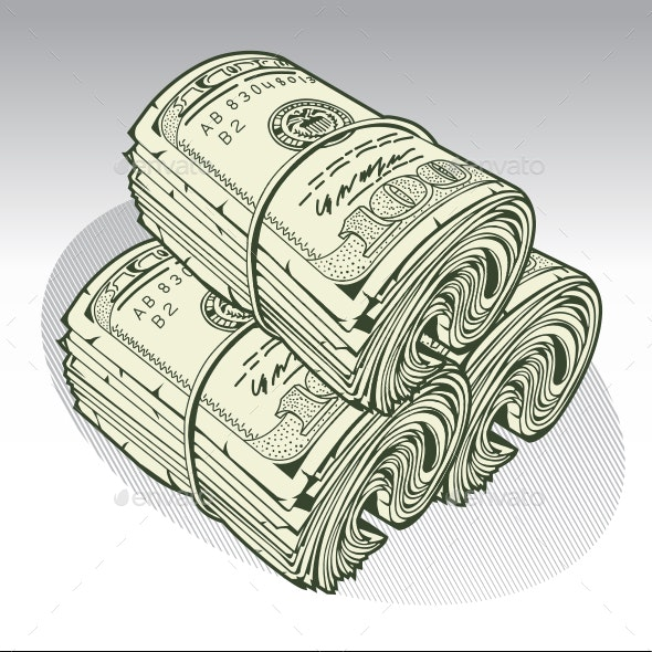 Money Roll Dollars  Green Vector - Miscellaneous Vectors