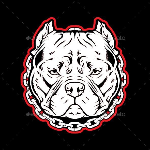 Pitbull Chain Dog Logo Mascot Vector