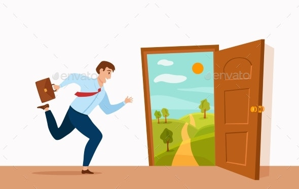 Businessman Runs To Open Door with Summer Nature - People Characters
