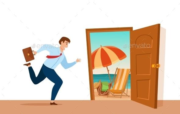 Businessman Runs To Open Door with Summer Nature - People Characters