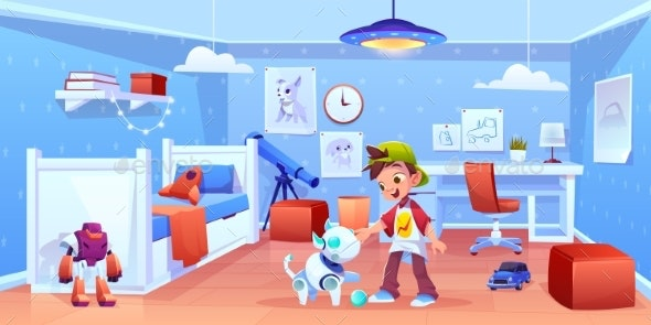Dog Robot and Boy Playing at Home - Miscellaneous Vectors
