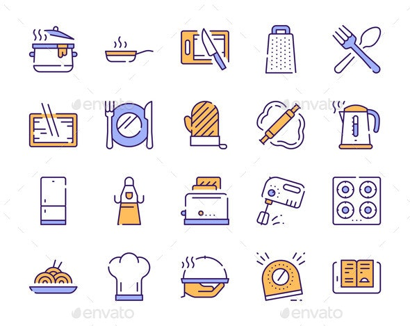 Cooking Accessories Yellow Color Linear Icons Set - Food Objects