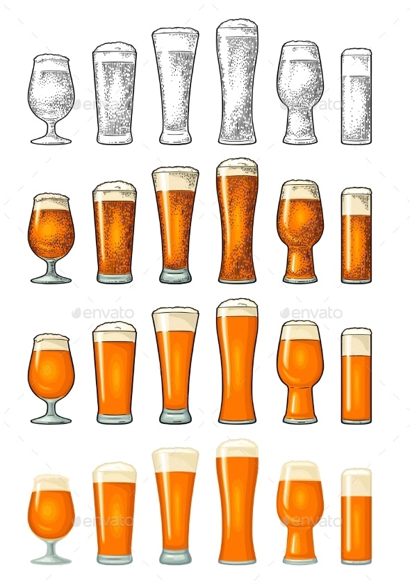 Different Types Beer Glasses Vintage Color - Food Objects