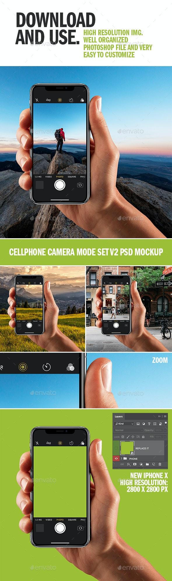 Cellphone Camera Mode Set v2 PSD Mockup - Product Mock-Ups Graphics