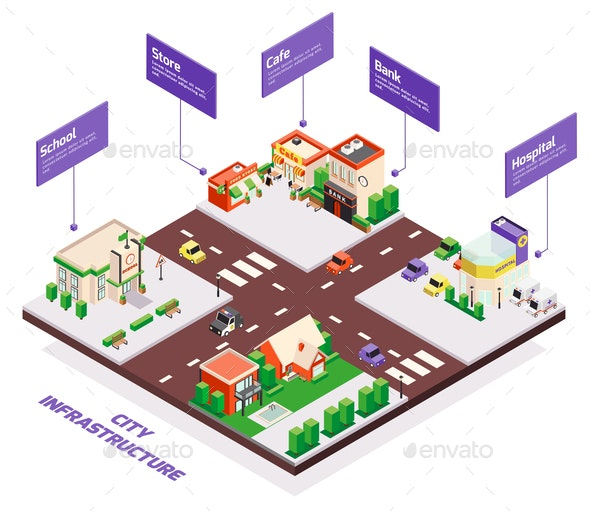 City Infrastructure Isometric Infographics - Buildings Objects