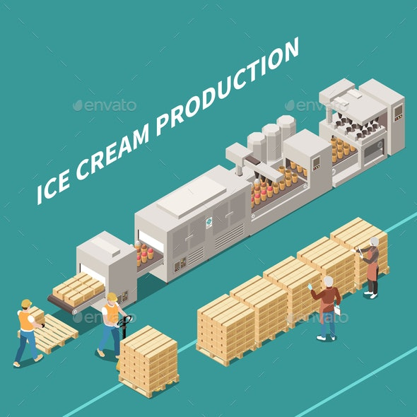 Ice Cream Production Isometric Illustration - Miscellaneous Vectors