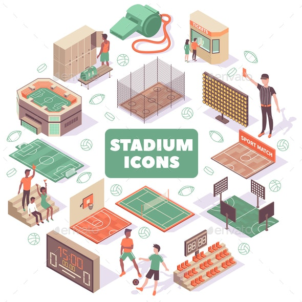 Stadium Icons Round Composition - Sports/Activity Conceptual