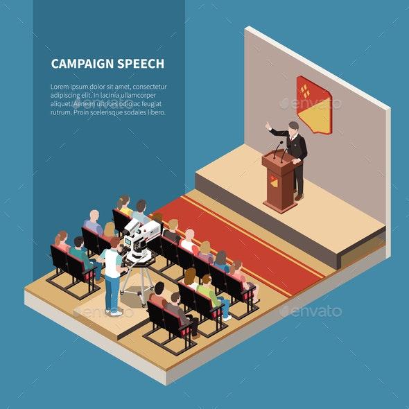 Campaign Speech Isometric Background - Miscellaneous Vectors
