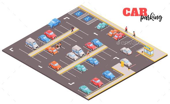 Parking Area Isometric Composition - Miscellaneous Vectors