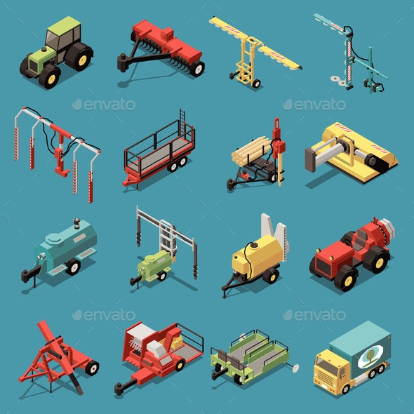 Orchard Machinery Isometric Set - Miscellaneous Vectors