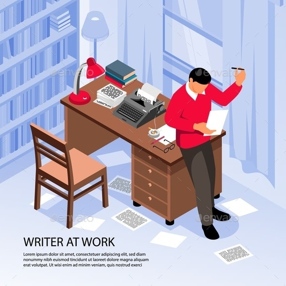 Writer Work Isometric Composition - Miscellaneous Vectors