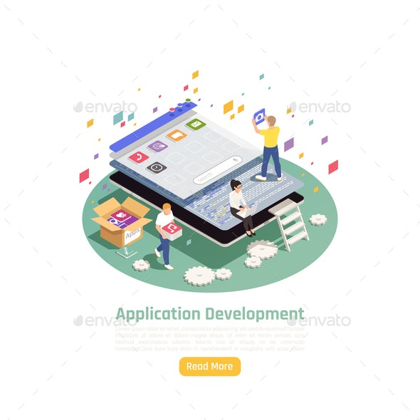 Development Applications Isometric Background - Computers Technology