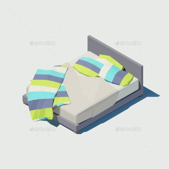 Vector Isometric Double Bed with Colorful Pillows