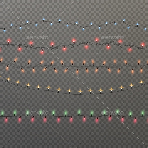 Colorful Christmas Lights Isolated on Transparent - Backgrounds Decorative