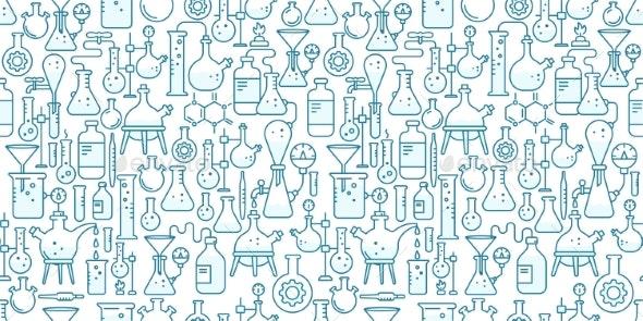 Chemistry Flask Beaker Equipment Seamless Pattern - Backgrounds Decorative