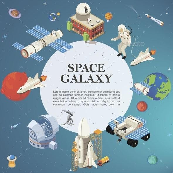Isometric Space Round Concept - Miscellaneous Vectors