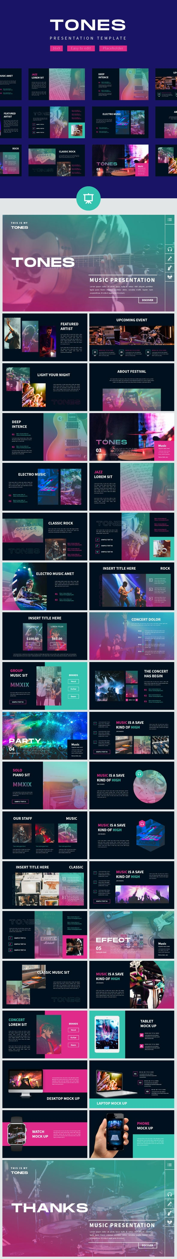 Tones Music Event - Google Slide Template - Business PowerPoint Templates