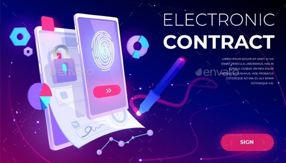 Electronic Contract Banner E Signature Document By Vectorpouch Graphicriver
