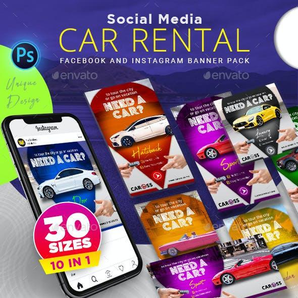 Car Rental Social Media Banner Pack
