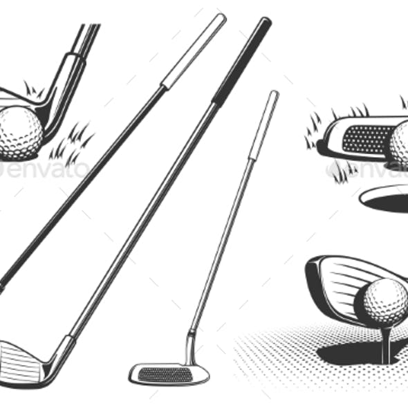 Golf Clubs and a Ball