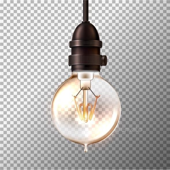 Vector Retro Light Bulb on Transparent Background - Man-made Objects Objects
