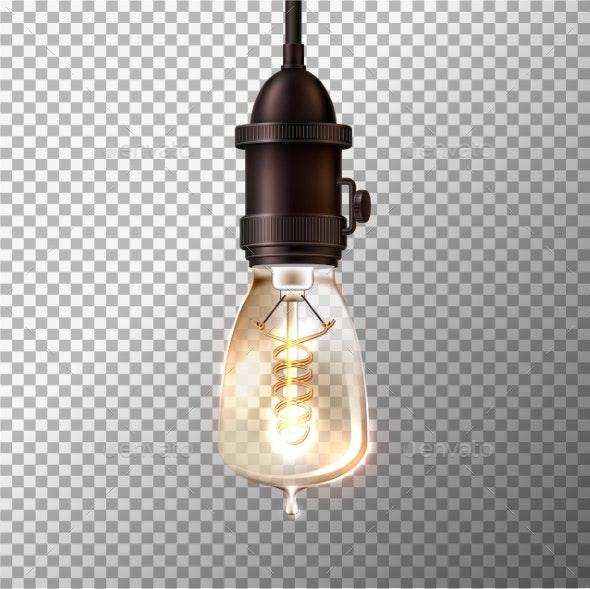 Vector Retro Light Bulb On Transpa Background