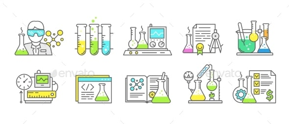 Chemistry Science Icon Set Measuring Production - Technology Conceptual