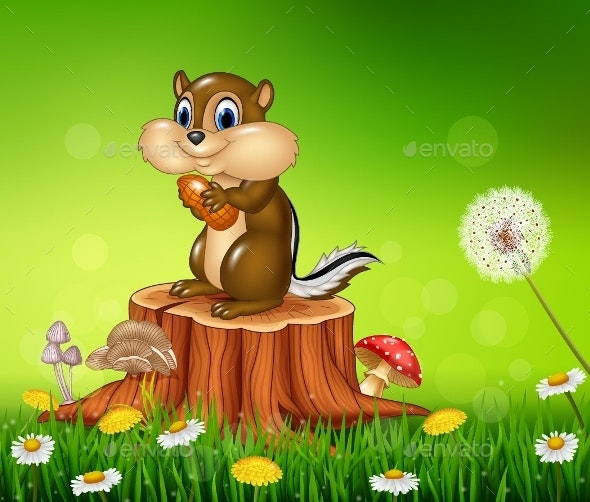 Cartoon Chipmunk Standing on Tree Stump - Animals Characters